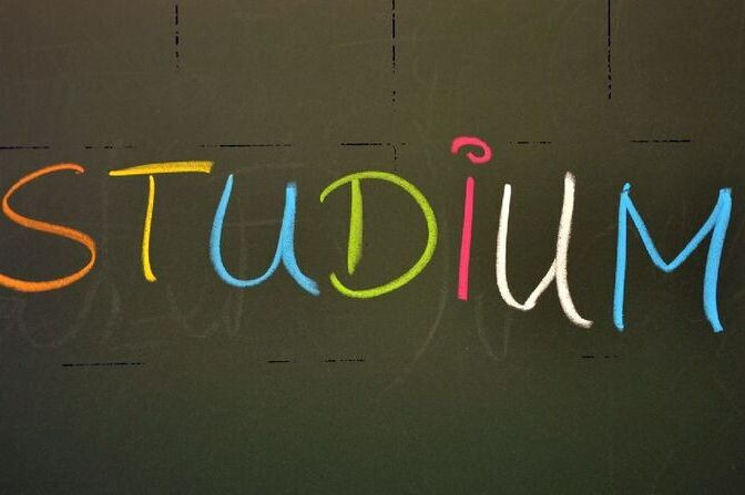 "The word ""Studium"" (German for 'Studies') is written on a blackboard"