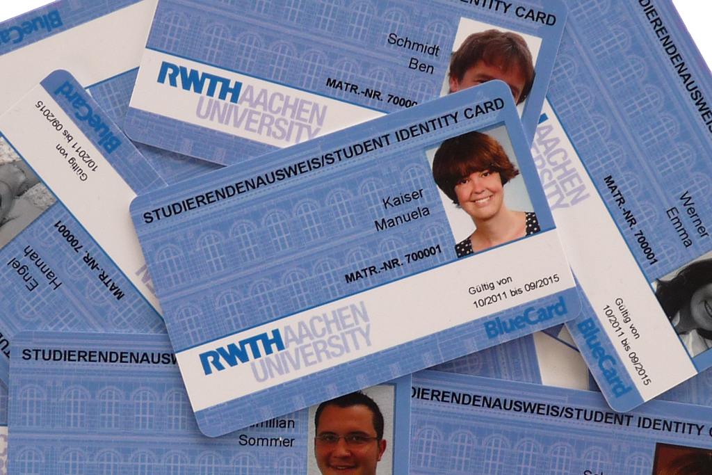 A photo of several student IDs