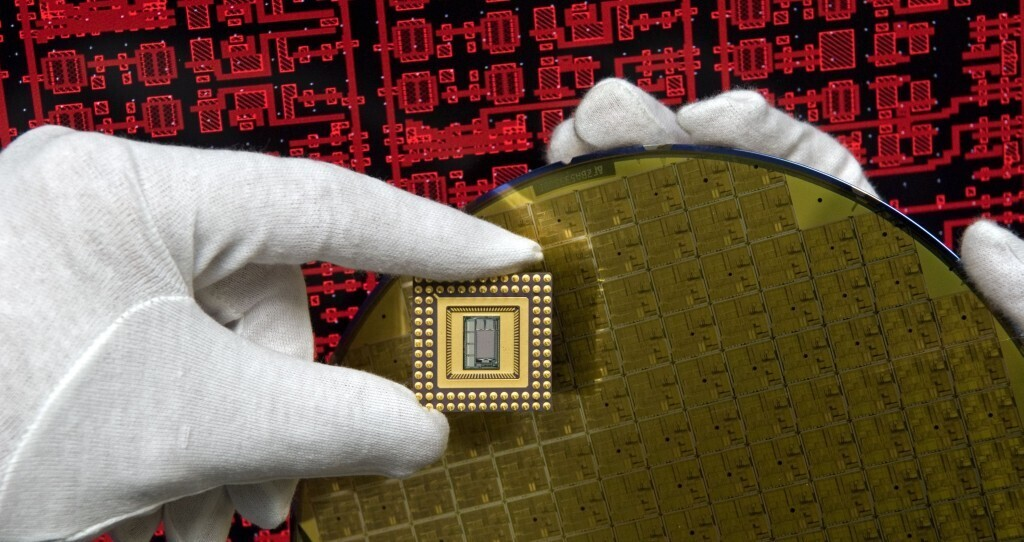 Researcher with Chip