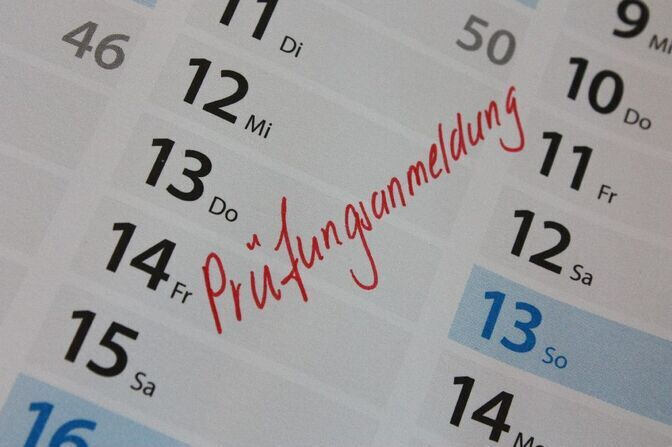 Calendar with examination dates