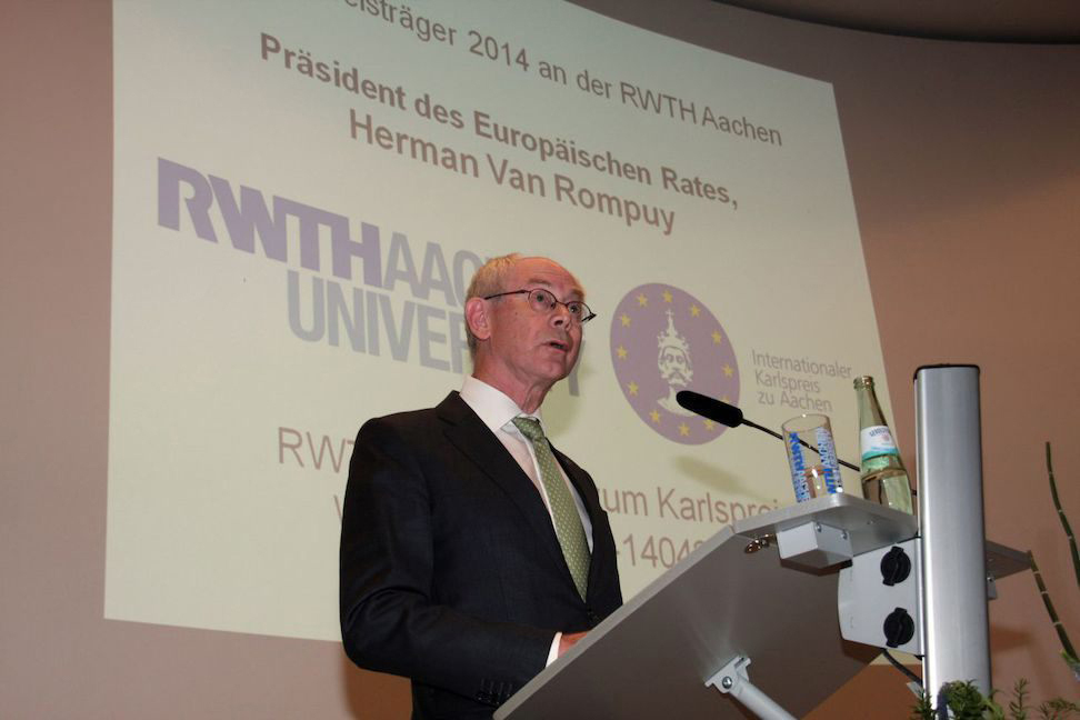 Photo of the Charlemagne Prize Recipient 2014 Herman Van Rompuy