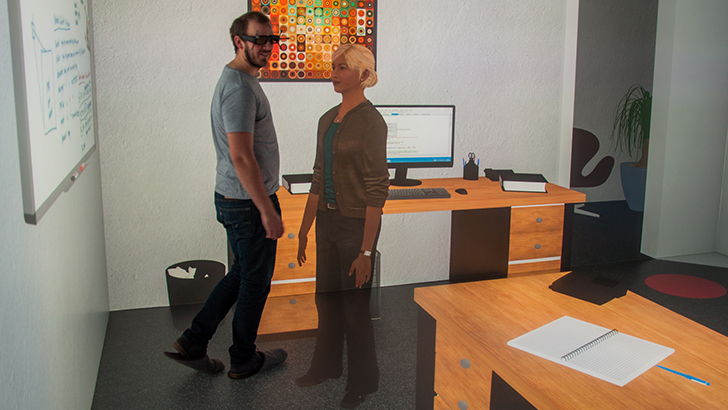 User passing a virtual female agent in an immersive, virtual office scene.