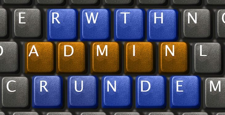 "Letters ""RWTH Admin Runde"" on keyboard."