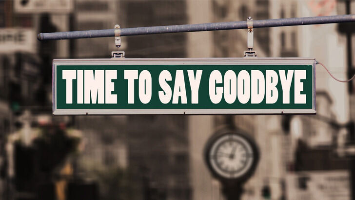 "Photo with a sign with the inscription ""Time to say ggodbye"""